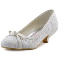 Women  Shoes EL-029 White   EU 35/US 4   Round  Toe Bow 1.5 inch  Lace Ladies Wedding Bridal Pumps