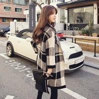 Winter 2014 British style dress big lattice easing long cardigan