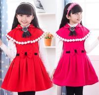 2015 New Year Autumn Winter Girls Woolen cloth dresses Baby Sleeveless party dress Kids vest dress