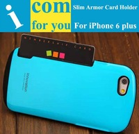 Drop resistance Soft Rubber Slim Armor Hybrid Protector cover case for iphone 6 plus 5.5 Card slot holder