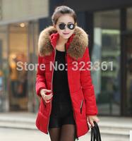 2014 New Fashion Clothing Fur Hooded Zipper Long Style Women Warm Down Coat 3 Colors Winter parkas coat Size S-4XL