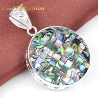 New 2014 Semi-precious Jewelry Antique 925 Silver  Round Abalone Shell Nacklace & Pendant