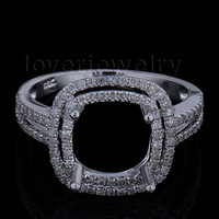 Stunning Cushion 8.5mm Solid 14Kt White Gold Diamond Engagement Semi mount Ring 2T018