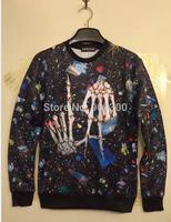 2014 Halloween men women sweater sweatshirt punk rock ghost bones digital print space cotton jacket sweaters blusas femininas