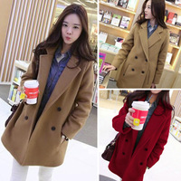 Free Shipping ! Women's trench winter high quality double breasted turn-down collar elegant famale overcoat woolen outerwear
