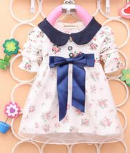 Super Price Spring Autumn 1pcs Baby Girls Dress Big Bowknot Infants baby Flower Dresses girls T shirt mini dress(China (Mainland))