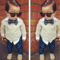 BCS131 Free shipping 2014 new fashion boy's clothing sets good quality baby's clothes (shirt + pants) 2pcs children suits retail