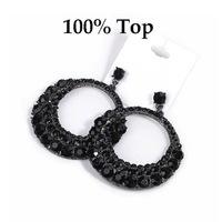 Min Order 9$! Black Rhinestone Crystal Fashion Big Circle Earrings Jewelry for Women Party