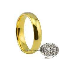 hot selling fashion smooth Rings for women Plating real 18K gold 316L stainless steel ring 60cm chain  vintage titanium ring