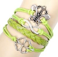 Fashion Handmade Alloy Vintage Infinity Butterfly Clover Leather Friendship Love Couple Bracelet Bangle Charm Gift