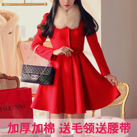 Free Shipping Women dress high quality fashion ladies trench overcoat long design wool woolen outerwear slim waist skirt ruffle