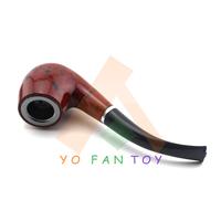 Stylish Tobacco Pipe Durable Plastic Smoking Pipe Cigarette Holder Cigarette Filter Black + Red #685B