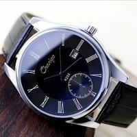 Men Quartz Business Watches Leather Strap Blue Mirror Alloy Case Analog Fashion Wristwatches Calendar Relogios Masculinos 2014