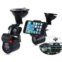 Latest Phone Car Holder 3.5mm Jack Car LED FM Transmitter 360 Degree Rotation Stand Holder + USB Car Charger for iPhone Samsung