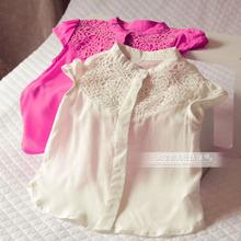 Enfants vêtements d'été fille mode découpe chemises sans manches(China (Mainland))