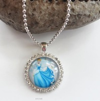 cinderella&belle&snow white&aurora character pendant necklace chain bottle cap pendant necklace for kids/baby/girls free shiping