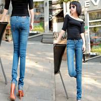 free shipping Women new Korean version of the Slim was thin elastic waist big sizes women's jean pants feet pencil jeans