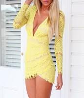 1083# Hot 2014 V-neck long-sleeved lace dress black /white party dress evening dress vestidos
