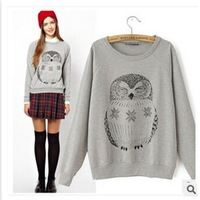2014 New ShineLi 1PC Women Lady Casual OWL Print Loose Pullover Sweatshirt Hoodies Tops Book