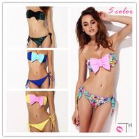 Push Up Padded Swimwear Print Bikinis Set Bow Bathing Suit Bandeau Top Sexy Brand Swimsuits For Women Biquini 2014 Summer New