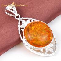 New 2014 Hot Sale Semi-precious Jewelry Antique 925 Silver  Round  Amber Nacklace & Pendant