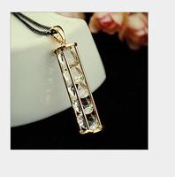 Vintage jewelry sandglass zircon pendant design women long chain necklace ,NL-2299