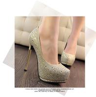 Size35-39 New Fashion Sexy Round Toe Platform Women Pumps 13.5cm High Heels Ladies'Wedding  Pumps Party Women Shoes