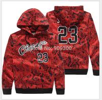 2014 new design sportswear JORDAN 23 sweatshirt with bull rose print hoodie man outdoor jacket cycling clothing Men 3D Sweater