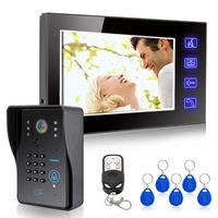 "7"" Lcd Video Doorbells Intercom RFID Keyfobs Key IR Camera&Code Keypad&Remote"