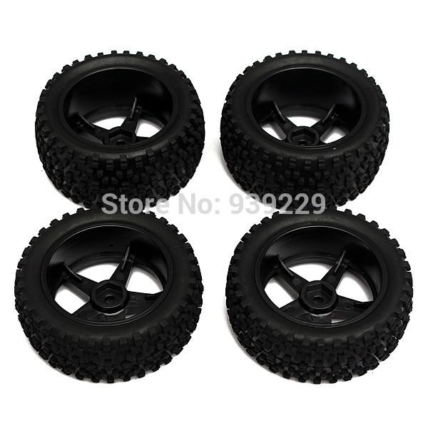 New 4Pcs/set 12mm Hub Wheel Rim & Tires HSP 1:10 Off-Road Front Rear RC Car Buggy Truck Free Shipping(China (Mainland))