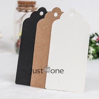 Wholesale 50 pcs lot Scallop Kraft Blank Hang tag Retro Gift tag Table Number cards 10*5 cm(China (Mainland))