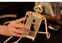 free shippingTransparent crystal stones Full drill perfume bottle phone cases Costly style Diamond case  phone 5 5 s phone 4 4 s