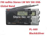 Original Tecsun pl-660 Portable FM radio Stereo LW MV SW-SSB AIR PLL SYNTHESIZED PL660 Radio Black Silver