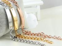 Unisex Rectangle Stainless Steel Chain Bracelets