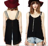 Plus Size S-5XL cheap clothes china  2015 Casual Shirts Sleeveless Spaghetti Strap Sexy Chiffon Women Blouses Vest Tops Blouse