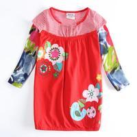 Wholesale Spring Autumn Dress Nova Brand Children Girl Dress Dresses Flower Applique Baby Child Dress Clothing Casual Kids Wear