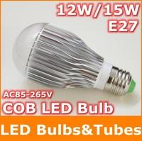 12W 15W E27 LED Bulb COB LED lamp AC85-265V Warm White High brightness Energy Saving Led Lighting for free shipping