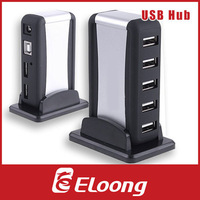 Eloong 480Mbps 7 Port High Speed USB 2.0 HUB + AC Adapter Cable + Plug for Computer Accessories with LED Indicator  P061