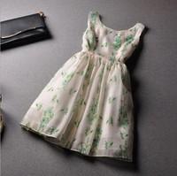 D35*2014 Summer New Women's Fashion Sexy Ball Gown Prom Dresses Flowers Print Organza Slim Casual Tank Top V Back Chiffon Dress