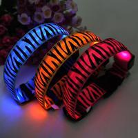 2014 Wholesale LED spot light Zebra aperture luminous collars pet collar dogs dog