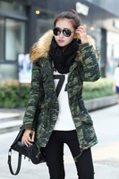 2014 Fashion Winter Classic Camouflage Army Green Women Coat Lambs Fur Collar Hooded Cotton Padded Jacket M-XXXL