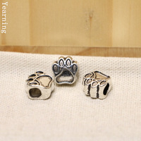 Yearning Jewelry Accessories Alloy Antique Silver Big Hole Dog Footprint Beads Charm Fit Bracelet 10*10mm 100PCS