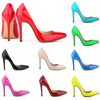 Fashion new pointed toe women pumps PU ultra high heels shoes thin heels shallow mouth women shoes plus size free shipping