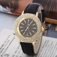 GAGA! New High quality leather Wristwatch Ladies Shining rhinestone set Women Dress Watches Casual Quartz Watch