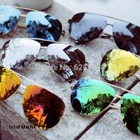 Freeshipping personality trend sunglasses  Men's and women's  Fashionable driver's reflective glasses Anti UV Celeb Fashion