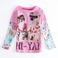 Wholesale Girls Clothes NOVA Children Girls Kids T-shirt Cartoon Cat & Dog Printed Letter Sequined T shirt Kids Autumn Shirts