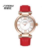 Top Sale! Newest Arrival SINOBI Brand Dress Watch for Women Leather Strap Gold Ladies Wristwatch Quartz Fashion Waterproof