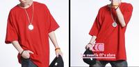 Hip Hop Candy Colors Fashion Loose Men T Shirts / Summer Short Sleeve Cotton Plus Size Men Tee / 8 colors Basic T-shirt S-4XL