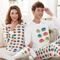 Korean style sweet couple Pajamas sets women and men cotton sleepwear autumn winter long sleeve women track suit