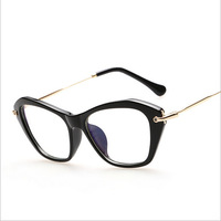 2015 NEW Italy Cat eye Optical frames women anti-radiation Clear Lens Frames Brand MM computer eyewear Spectacles black Gold